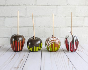White Chocolate Dripped Apples-  Fake Sweets, Props, and Party Decor