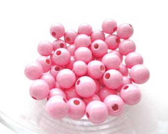 50 wooden beads for attached pacifier 10mm - pink