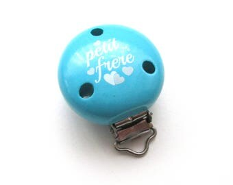 Little brother Turquoise wooden clip