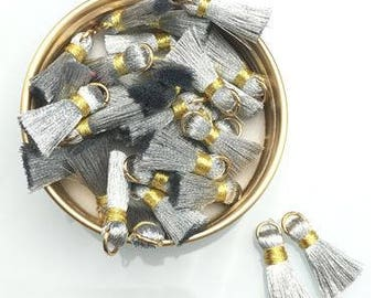Silk Tassels - Silver and Gold - 10 pieces - 20mm - Jewelry Making - Craft Supplies