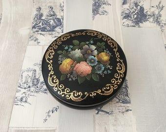 Vintage Round Floral Tin, Black tin lift off lid