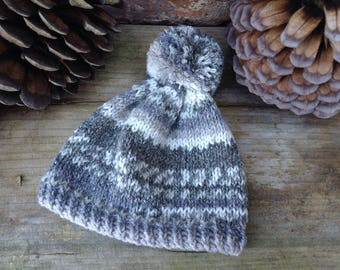 Hand Knitted Blythe Bobble Hat & Scarf - Fair Isle Style