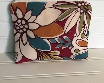 Handmade Zipper Pouch | Bold Floral Fall Pouch