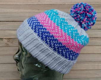 Fair Isle Fold Over Brim Hat - Ready to Ship!