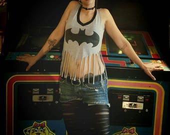 Batman crop top fringe v-neck tee