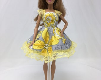 "Yellow Doll Dress-11.5"" Doll Clothes-Yellow Floral Doll Dress-Flower Dress-Flower Power Dress-Whimsical Dress-Girls Birthday Gifts-Toys"