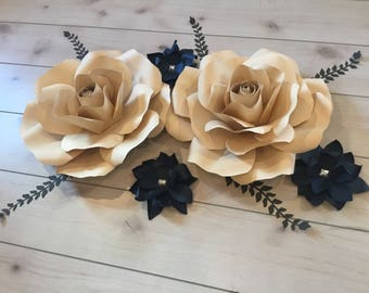 Navy and Tan paper flowers with accent flowers