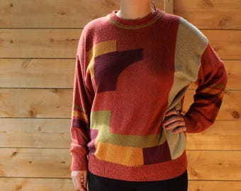 80's geometric sweater