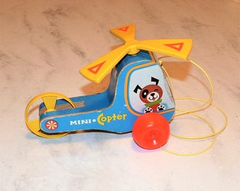 Vintage Fisher Price Mini Copter, 1970, Pull Toy, 100% intact, Clean!