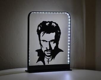 lampe,luminaire LED Johnny Hallyday en métal