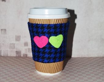 Cup Cozy Felted heart Coffee Mug Cozy Coffee Cup Cozy Coffee Cup Sleeve Tea cup cozy Tea mug cozy