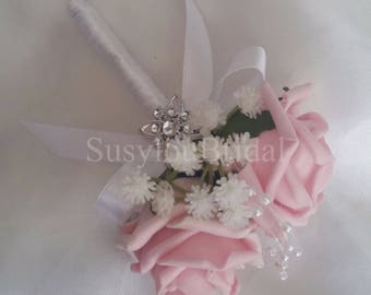 Wedding Bridal Double Pin On Corsage Buttonhole Pearls With Gypsophila In Various Colours Available