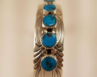 7 Stone Sleeping Beauty Turquoise Cuff Bracelet