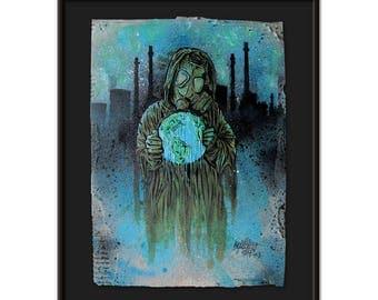 Original Artwork  Hand-Painted On Cardboard  - W.O.D. 3 out of 5. - Acrylic  - Vector Art - Pop Art - retro Style - Stencil Art - Apocalypse