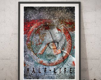 Half life Poster, Video Game Poster, wall art, Printable home decor, Digital instant download, Gordon Freeman digital paint, cool kids gift
