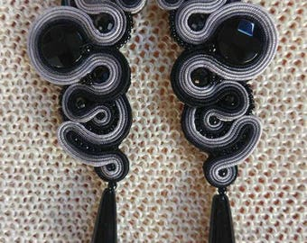 Black Earrings from the Soutache, craft, eco-friendly, organic jewelry, organic jewelry, Swarovski crystals