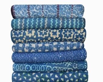 5 pcs lot (Free shipping ) indigo kantha throws, Kantha Quilt ,Twin Size Hand Made Bed Cover, Indigo Kantha Quilt, blanket, throw
