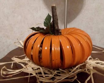 Rustic Farmhouse Halloween, Fall, Autumn Pumpkin made of Mason Jar Rings