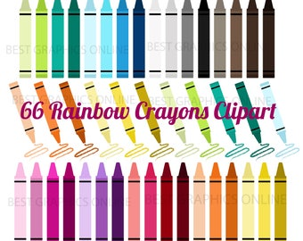 80% OFF SALE Commercia use clipart Rainbow Crayon Clip Art, Digital Crayons, Colorful Crayons, Rainbow Crayons Clipart, Vector graphics KG8