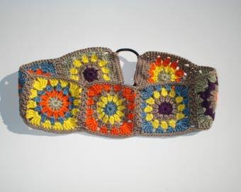 Crochet Headband, Women's Granny Square Crochet Headband, Handmade Cotton Headband, Womens Hair Accessories