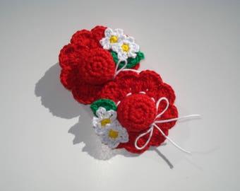 Crochet Hair Accessories, flower Clip, Crochet Flower Brooch