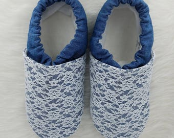 Denim & Lace Soft Sole Shoes