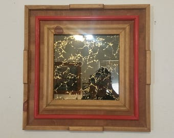 Pinewood Mirror Frame with red inlay