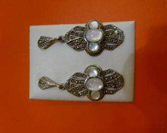 Cordoba Silver earrings with mother of Pearl and marquesitas