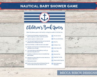 Book Trivia Game – Nautical Theme – Baby Boy – Baby Shower Games – Coed Shower – Stripes – Anchor – Bingo –  Printable – Instant Download