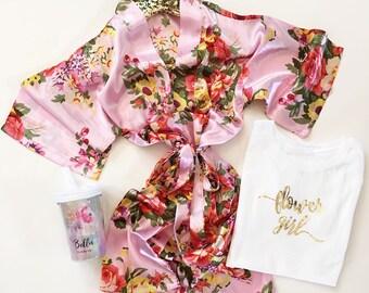 Flower Girl Robe, Flower Girl Gift Ideas, Kids Robe, Floral Flower Girl Gift, Spa Party Robes,Kids Satin Robe,Flower Girl Gifts,Girls Robe