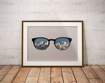 Photo Collage - Minimal Print - Sunglasses Poster - Clouds Art - Sky Photography - Sunglasses Wall Art - Instant Download - Clouds Poster