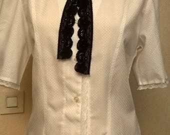 Short-sleeve shirt in white patterned viscose