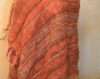Orange heathered wool shawl