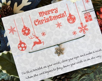 Snowflake Merry Christmas, Wish Upon Your Wrist, Wish Bracelet, Christmas Gift, Christmas Jewelry, Christmas Bracelet, Stocking Stuffer