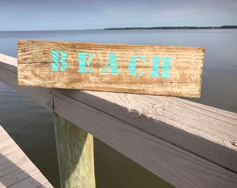 Beach Block Lettering on Rustic Wood Sign