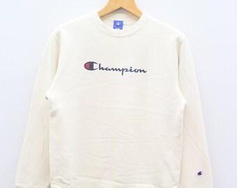 Vintage CHAMPION Sportswear Big Spell White Sweater Sweatshirt Size L