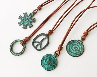 Mens Necklace Leather Necklace Mens Pendant Necklace Mens Copper Necklace for him Gift for guy Necklace Mens Gift Boyfriend Gift Mens Boho