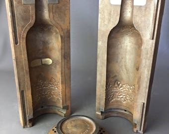 RARE wine glass bottle of wine vineyards decor cast iron mold