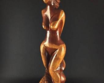 Statue sculpture-contemporary hand-heavy solid wood - raw art woman - 93cm