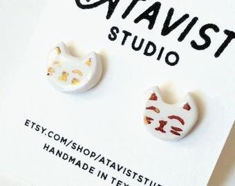 Cat Headed Post Earrings