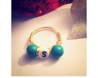 Custom Turquoise Initial Wire Ring