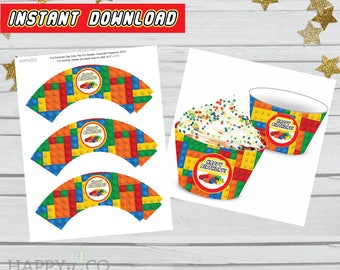 DIGITAL Instant Download Lego Party Cupcake Wrappers, Cake Wrappers, Lego Cupcake Wrappers