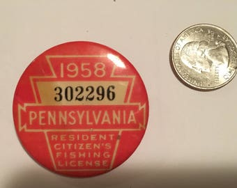 1958 Pennsylvania Resident Citizens Fishing License