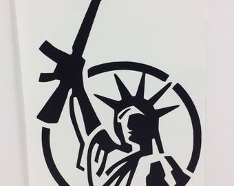 Lady Liberty Gun Decal Car Sticker