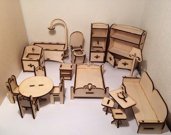 Wooden blocks for children. A set of miniature furniture for games. Drawing for CNC