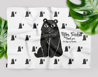Bear Silk Scarf - Personalised, Thank you gift, Monochromatic