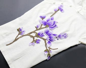 Purple Flower Branch Patches