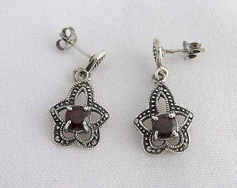 Earrings vintage style set with garnets and marcasites.