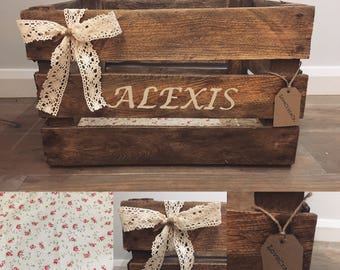 Personalised Wooden Apple Crate - Girls Crate - Storage/Bedroom/Toys - Shabby Chic