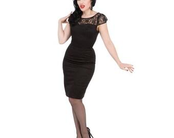 Hearts & Roses Black Mesh Wiggle Dress, Hearts and Roses, Wiggle Dress, Pin Up, 1950s Dress, 1950s Vintage, Vintage Fashion, Retro Fashion